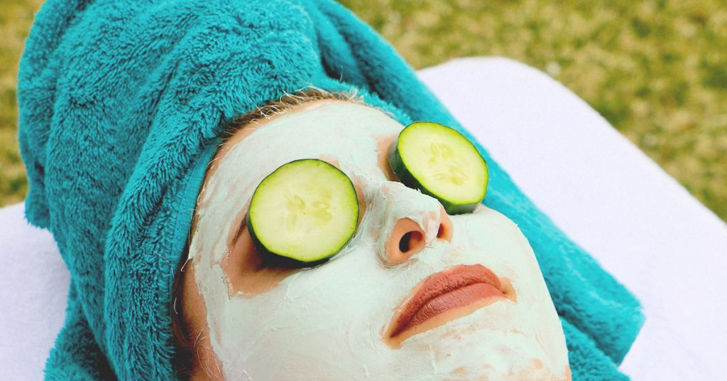 woman eye cucumber facial