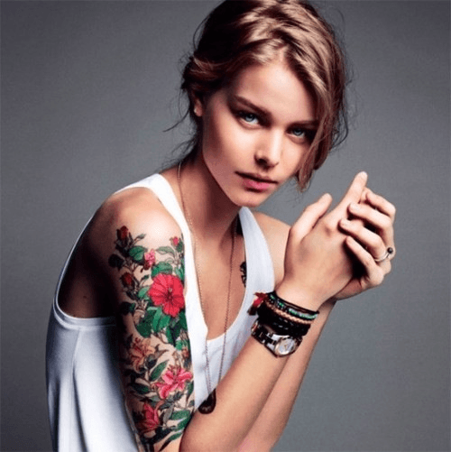 Beautiful Girl With Sleeve Tattoo