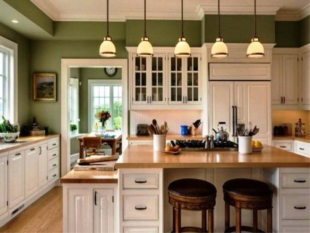 Green Paint With White Cabinets In Kitchen