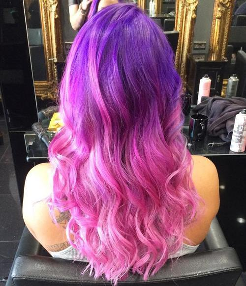 Bright Purple to Pink Ombre Hairstyl